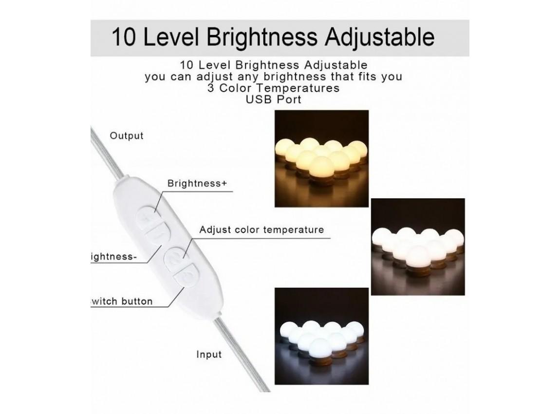 Luz Camarim 3 Cores 10 Lâmpadas led com adesivo para Espelho